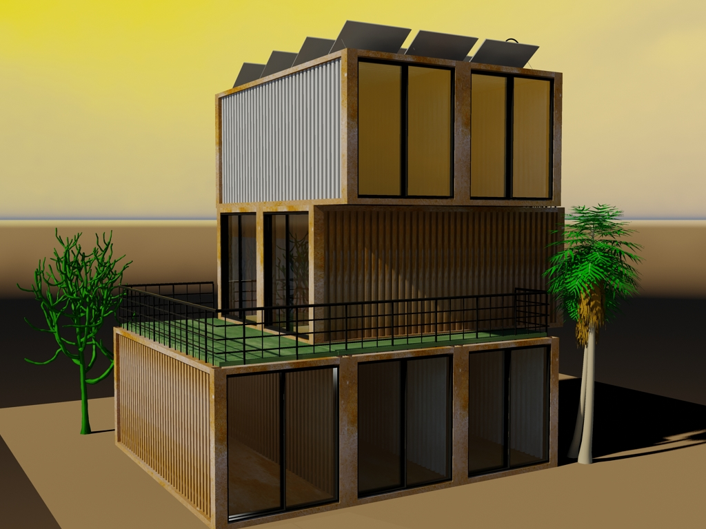 This is the largest of the series, using 7 of the 20-ft containers. It has a nice balcony on the second floor, while the roof is used for solar panels.